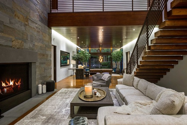 inside matt damon's house, living room